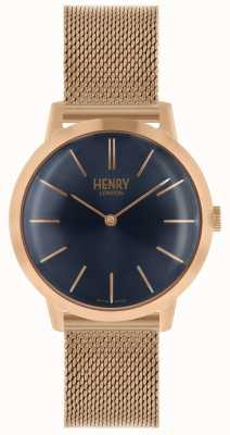 Henry London Iconic Womens Watch Rose Gold Mesh Bracelet Blue Dial HL34-M-0292