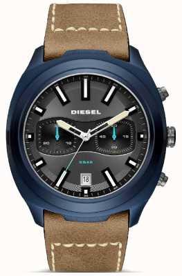 Diesel Mens Tumbler Blue Case Brown Leather Strap Watch DZ4490