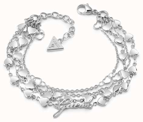 Guess Shine On Me Multi-Heart Row Rhodium Plated Bracelet UBB28003-L