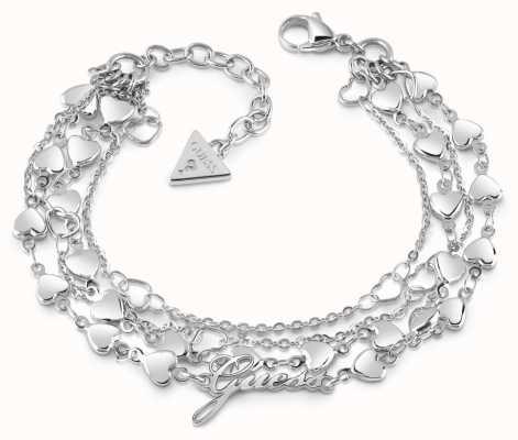 Guess Shine On Me Four Multi-Heart Row Bracelet UBB28003-L