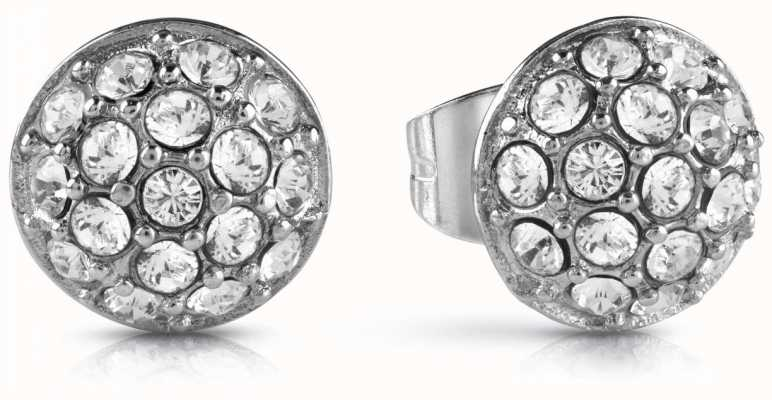 Guess Never Without You White Pave Stud Earrings Silver UBE28074