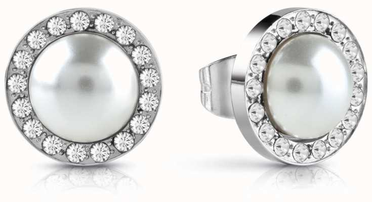 Guess Never Without You White Pearl Pave Stud Earrings Silver UBE28081
