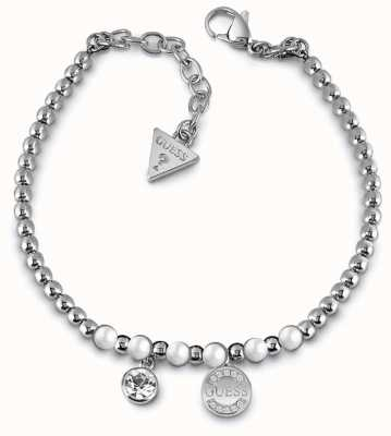 Guess Uptown Chic Pearl Silver Plated Logo Coin Charm Bracelet UBB28052-L