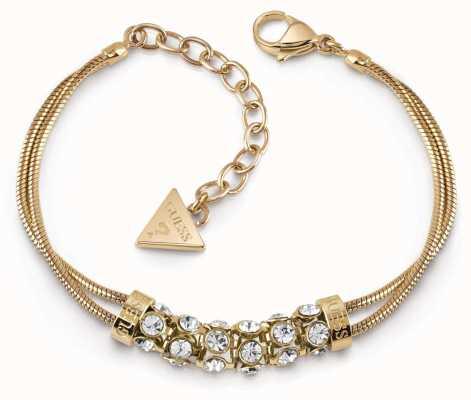 Guess Glitter Girl Gold Plated Swarovski Bar Double Bracelet UBB28062-L