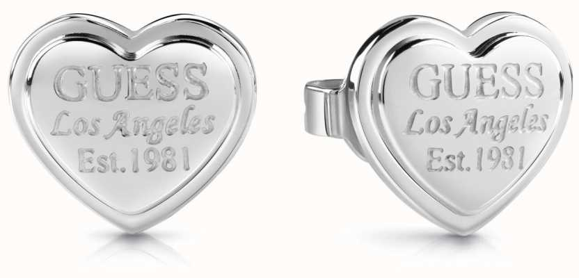 Guess Follow My Charm Heart Script Stud Earrings Silver UBE28008