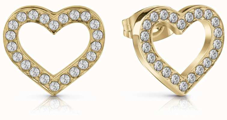 Guess Shine On Me Crystal Heart Frame Stud Earrings Gold UBE28004