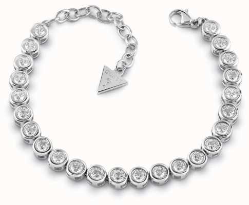 Guess Glitter Girl Rhodium Plated Swarovski Tennis Bracelet UBB28126