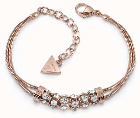 Guess Glitter Girl Rose Gold Plated Swarovski Bar Double Bracelet UBB28063-L