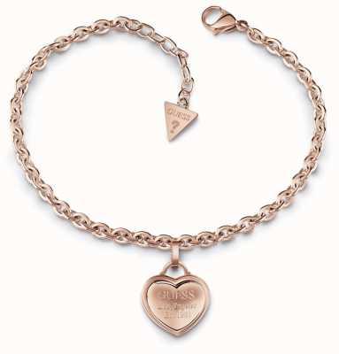 Guess Follow My Charm Small Heart Bracelet Rose Gold UBB28026-L