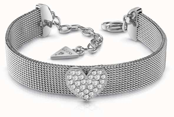 Guess Mix And Mesh Pave Heart Mesh Bracelet Silver UBB28014-L