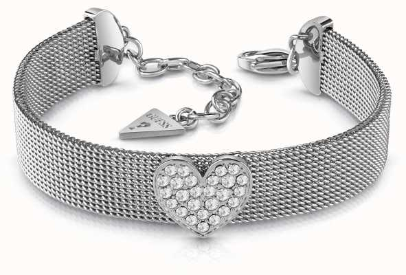 Guess Mix and Mesh Rhodium Plated Crystal Heart Bracelet UBB28014-L
