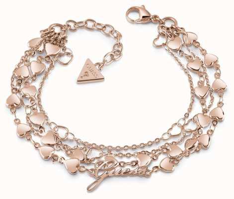 Guess Shine On Me Multi-Heart Row Rose Gold Tone Bracelet UBB28005-L
