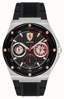 Scuderia Ferrari Mens Aspire Black Rubber Strap Gold Accents EX DISPLAY 0830556EX-DISPLAY