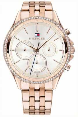 Tommy Hilfiger Ari | Rose Gold PVD Steel | Crystal Set | Silver Dial 1781978