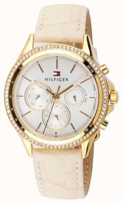 Tommy Hilfiger Women's Beige Leather Gold Plated Crystal Set Multi-function 1781982