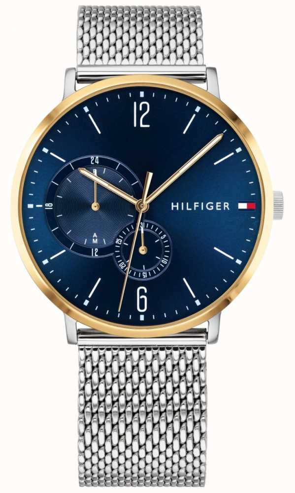 1c39f49b Tommy Hilfiger Mens Milanese Stainless Steel Blue Dial Gold Plated ...