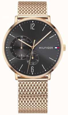 Tommy Hilfiger Men's Gold Milanese Black Dial 1791506