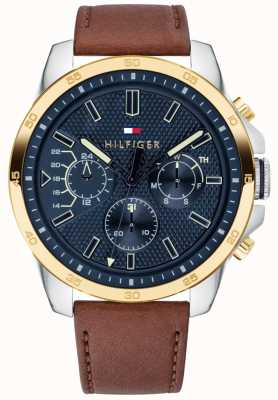 Tommy Hilfiger Mens Brown Leather Blue Dial Gold Plated Case 1791561