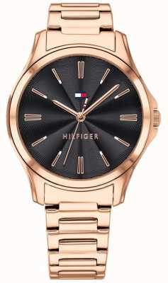 Tommy Hilfiger Womens Rose Gold Plated Black Dial 1781951