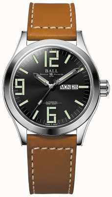 Ball Watch Company Engineer II Genesis Black Dial Tan Leather Strap Day & Date NM2028C-LBR7J-BK