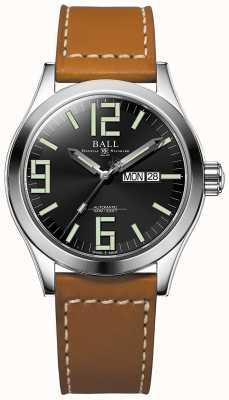 Ball Watch Company Engineer II Genesis Black Dial Tan Leather Strap Day & Date NM2028C-LBR7J-BK