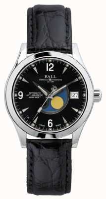 Ball Watch Company Ohio Moon Phase Automatic Black Date Display Leather Strap NM2082C-LJ-BK