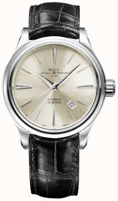 Ball Watch Company Trainmaster Legend Cream Sunray Dial Brown Leather Strap NM3080D-LJ-SL