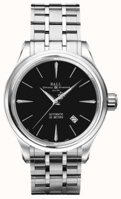 Ball Watch Company Trainmaster Legend Black Dial Stainless Steel Bracelet NM3080D-SJ-BK