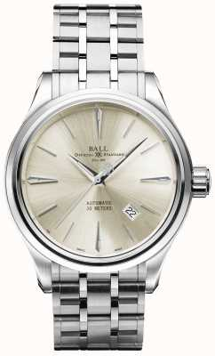 Ball Watch Company Trainmaster Legend Automatic Cream Dial Stainless Steel Date NM3080D-SJ-SL