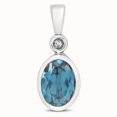 James Moore TH 9k White Gold Diamond London Blue Topaz Pendant Pd249wlb