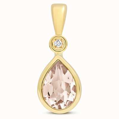 James Moore TH 9k Yellow Gold Morganite Diamond Pendant Pd248m