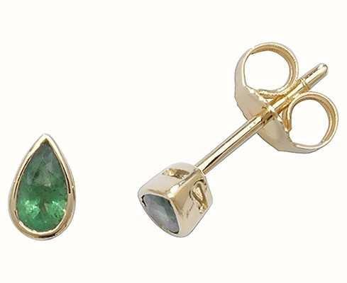 Treasure House 9k Yellow Gold Teardrop Emerald Stud Earrings ED243E