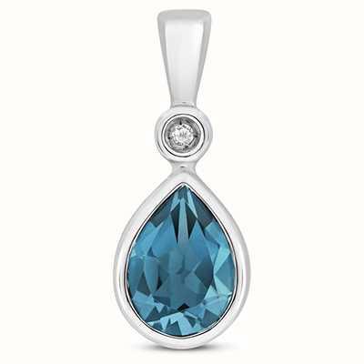 James Moore TH 9k White Gold Diamond London Blue Pendant Pd248wlb
