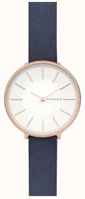 Skagen Womens Karolina Blue Leather Strap Rose Gold Case Watch SKW2723