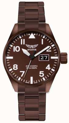 Aviator Mens Aircobra P42 Bronze Coated Steel Watch V.1.22.8.151.5