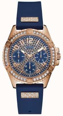 Guess Womens Lady Frontier Blue And Rose Gold Chrono Watch W1160L3