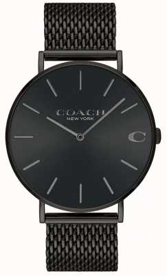 Coach Mens Charles Black Mesh Bracelet Black Dial Watch 14602148