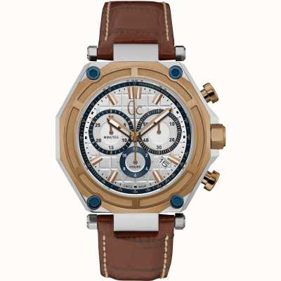 Gc Mens GC-3 Sport Chronograph Watch with leather STrap X10004G1S