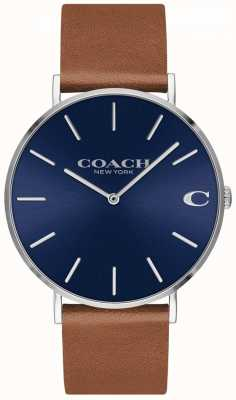 Coach Charles mens brown leather strap blue dial 14602151