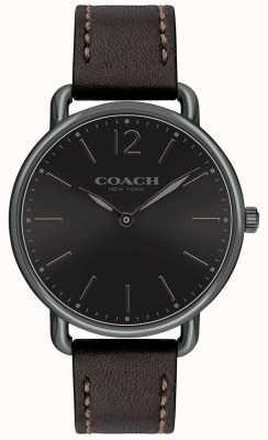 Coach Mens Delancey Slim Watch Black Dial BlackLeather Strap 14602346