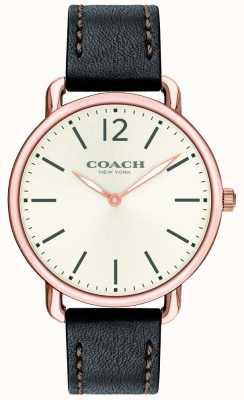 Coach Mens Delancey Slim Watch White Dial Black Leather Strap 14602347