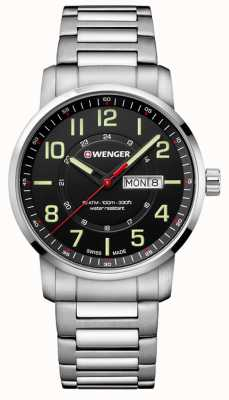 Wenger Attitude Black Dial Steel Bracelet Watch 01.1541.102