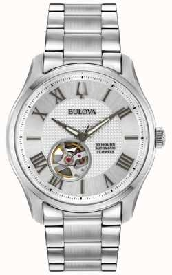 Bulova Mens Wilton Automatic Stainless Steel Silver Watch 96A207