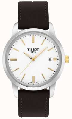 Tissot Mens Classic Dream Brown Leather Strap White Dial T0334102601101
