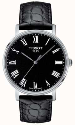 Tissot Mens Everytime Black Embossed Leather Strap Black Dial T1094101605300