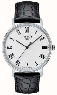 Tissot Mens Everytime Black Embossed Leather Strap White Dial T1094101603301