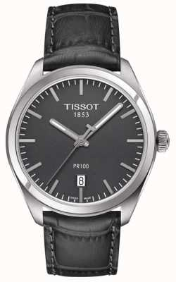 Tissot Mens PR100 Embossed Grey Leather Strap Grey Dial T1014101644100