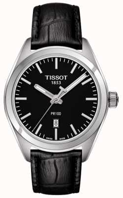Tissot Womens PR100 Black Leather Strap Black Dial T1012101605100