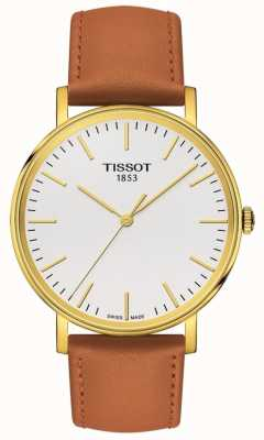 Tissot Women's Everytime Gold Plated Tan Leather Strap T1094103603100