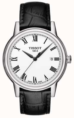 Tissot Mens Carson Black Leather Strap White Roman Numeral Dial T0854101601300
